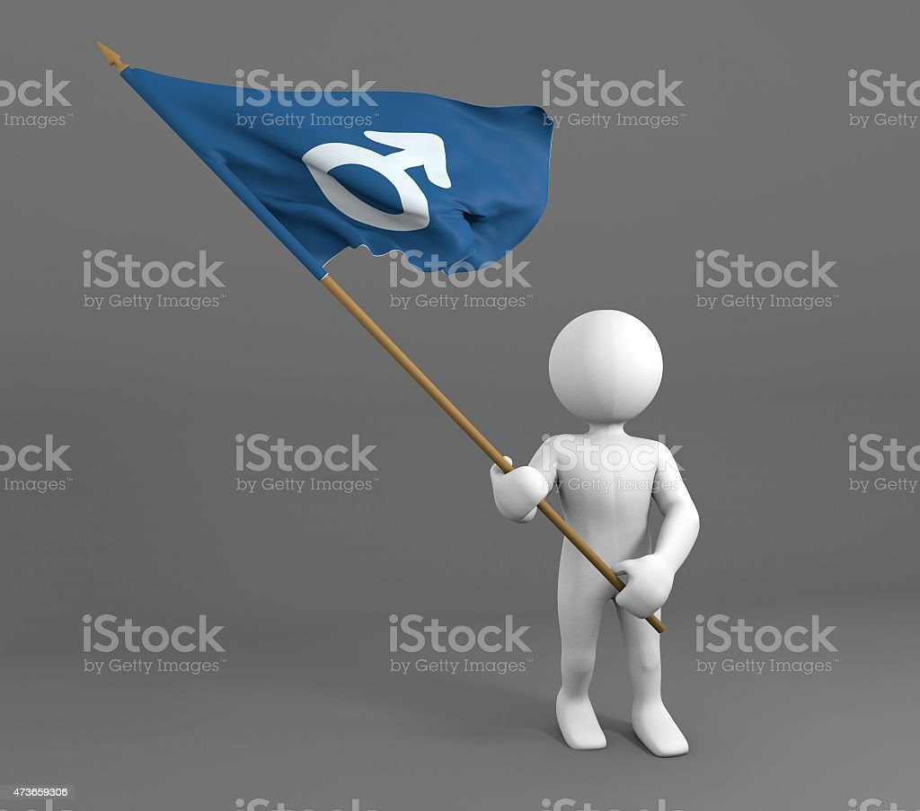 Character holding men / male symbol flag stock photo