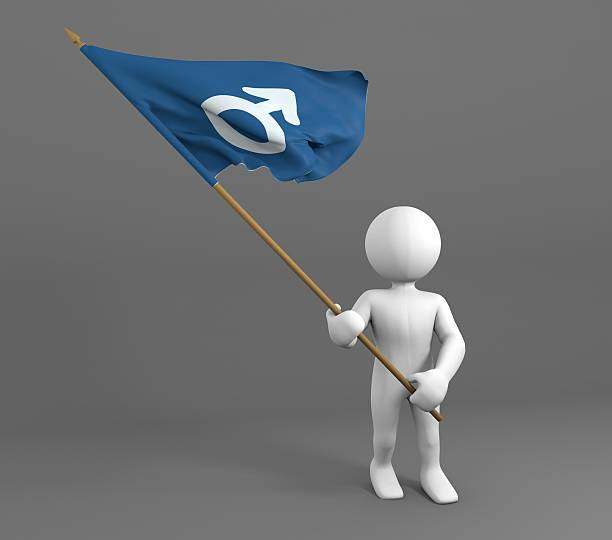 Personagem segurando bandeira homens/Símbolo Masculino  - foto de acervo