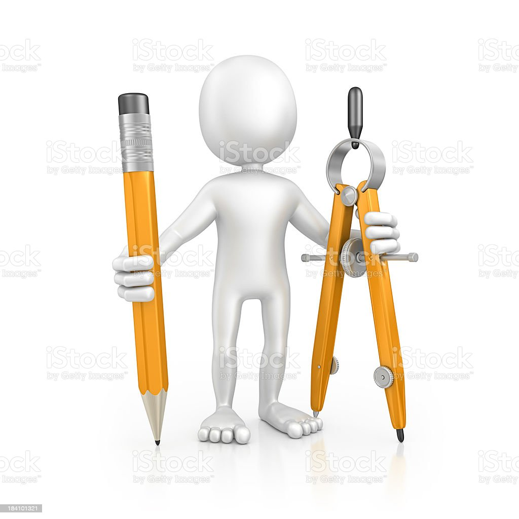 character holding pencil and drawing compass royalty-free stock photo