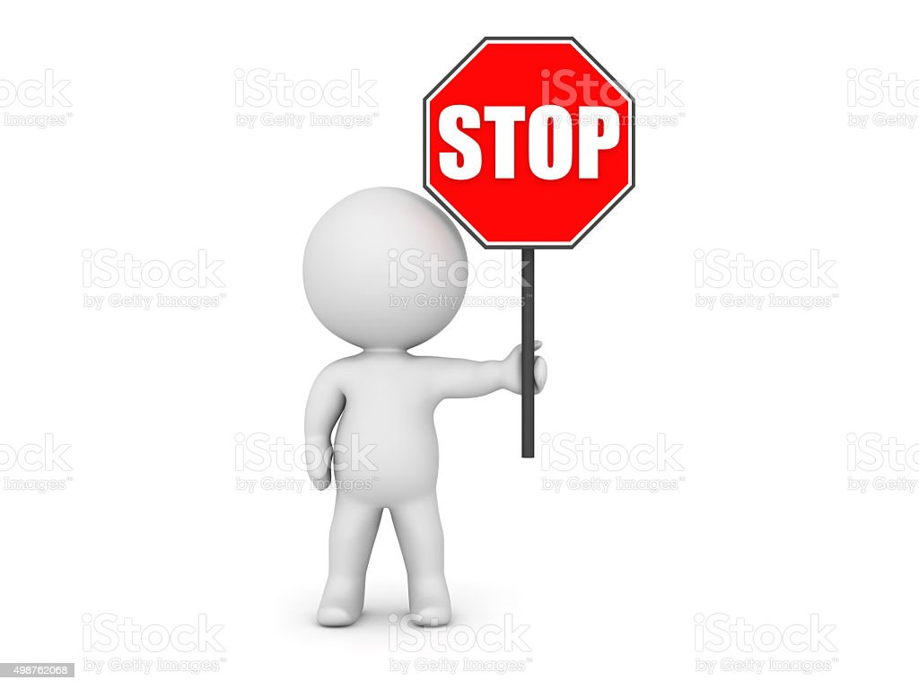 3D Character Holding Stop Sign stock photo