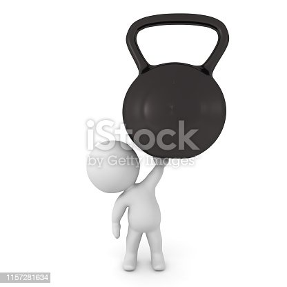 3D Character holding up a big kettlebell. 3D Rendering isolated on white.