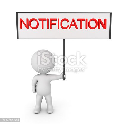 istock 3D Character holding up Notification sign 820744634