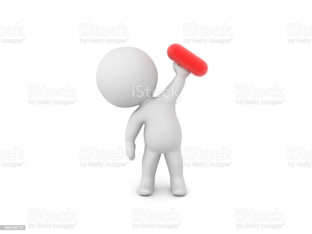 3D Character holding up red pill stock photo