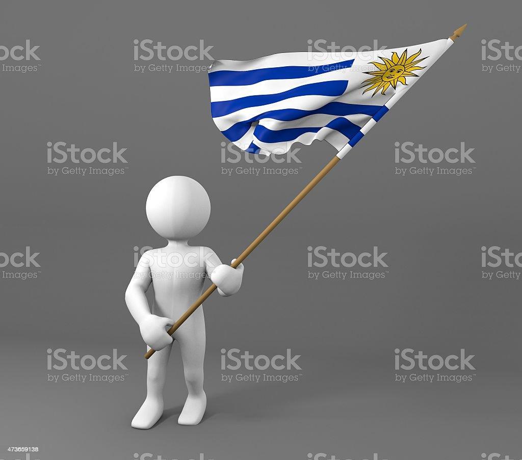 Carácter sosteniendo bandera de Uruguay  - foto de stock