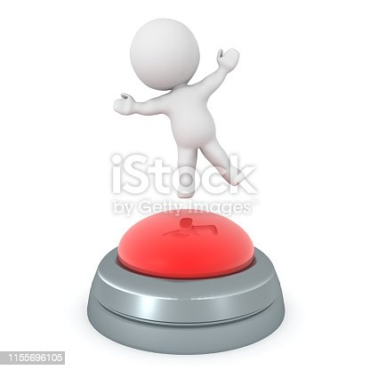 3D Character hopping on big red button. 3D Rendering isolated on white.