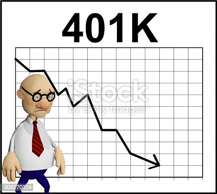 a rendered illustration of a cartoon character standing in front of a chart showing his 401K retirement going down the tubes