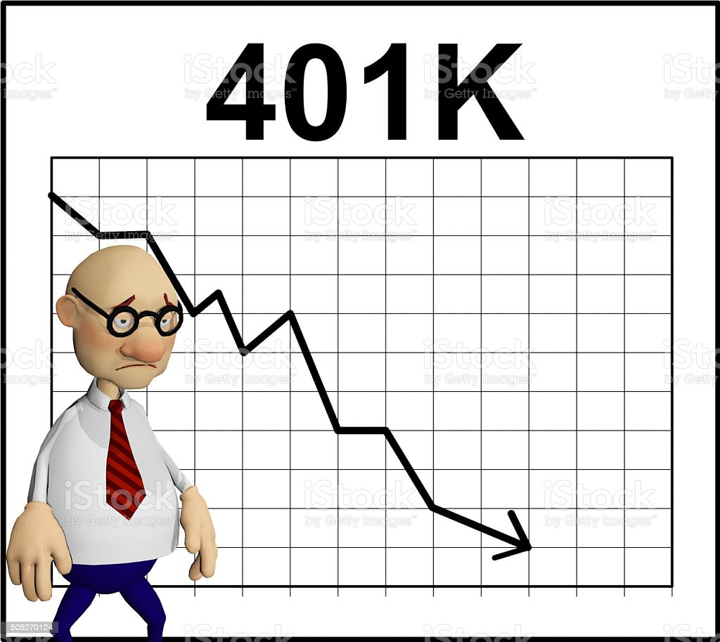 character in front of a 401k chart stock photo