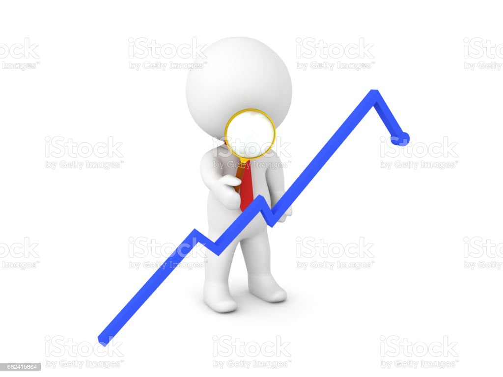 3D Character inspecting with a magnifying glass a blue graph royalty-free stock photo