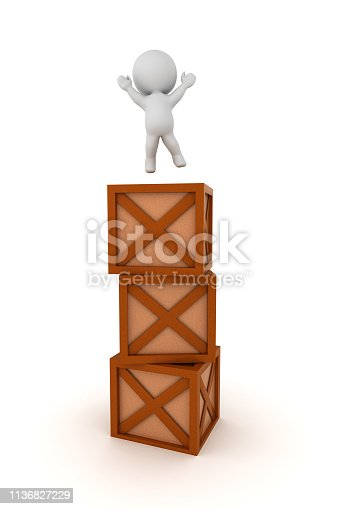 3D Character jumping on top of stack of crates. 3D rendering isolated on white.
