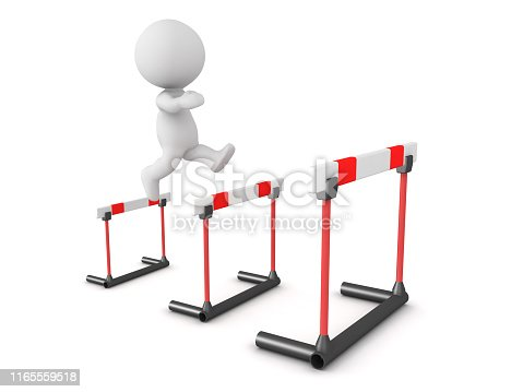 3D Character jumping over increasingly larger hurdles. 3D Rendering isolated on white.