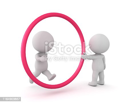 3D Character jumping through hoop held by another person. 3D Rendering isolated on white.