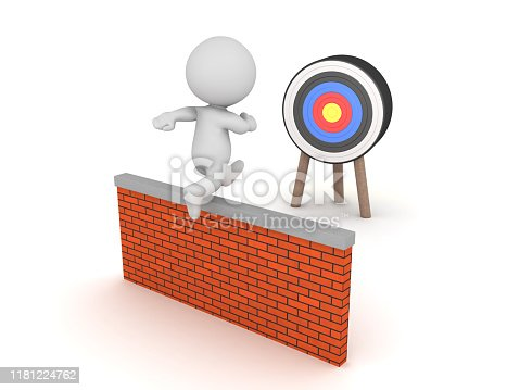 3D Character jumping wall in order to reach target. 3D Rendering isolated on white.
