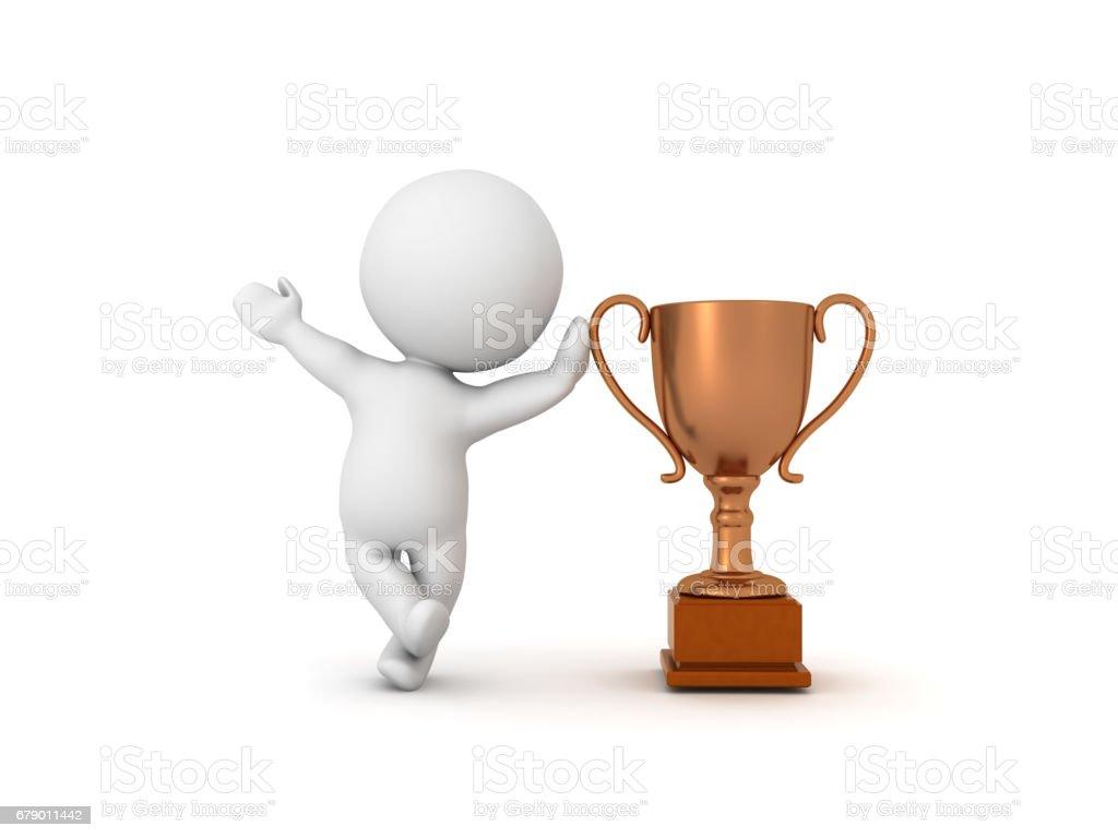 3D karakter bronz metalik Kupası yaslanmış royalty-free stock photo