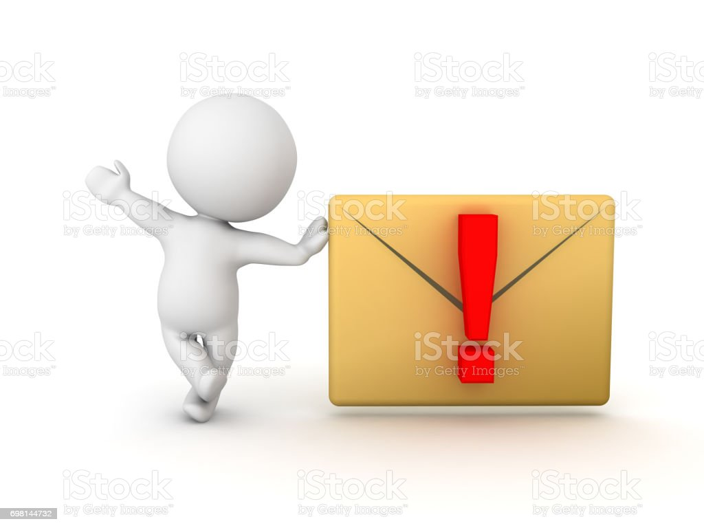 3D Character leaning on email or message notification stock photo