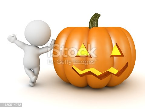 3D Character leaning on pumpkin jack o lantern. 3D Rendering isolated on white.