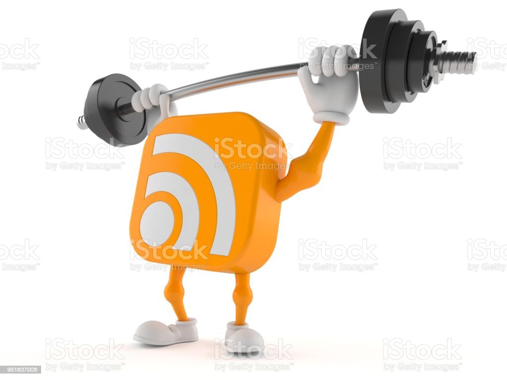 RSS character lifting heavy barbell stock photo