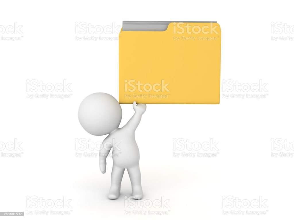 3D Character lifting up file folder stock photo