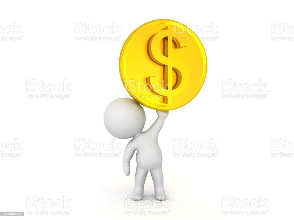 3D Character lifting up golden dollar coin stock photo