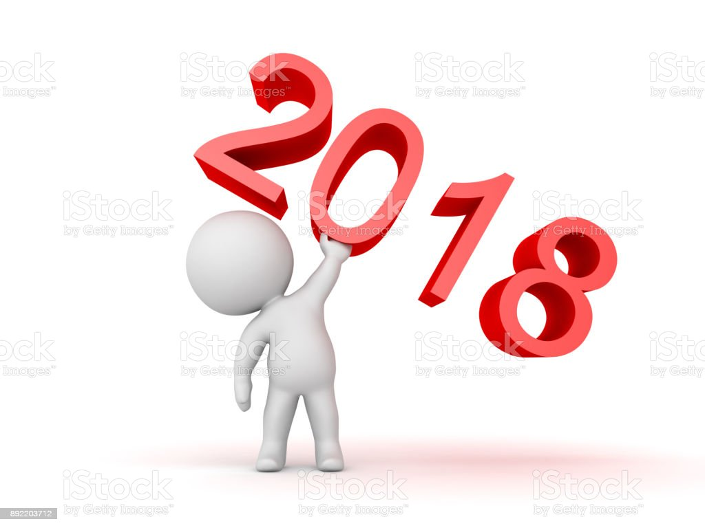 3D Character lifting up the number 2018 stock photo
