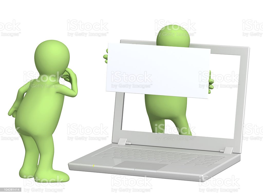 Character looking at computer with another character inside royalty-free stock photo