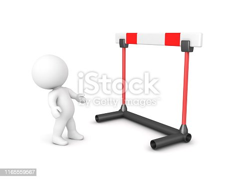 3D Character looking up at big hurdle. 3D Rendering isolated on white.