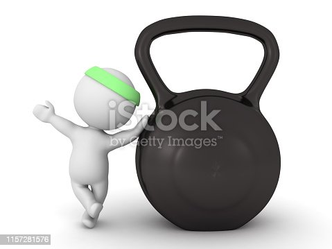 3D Character looking up at big kettlebell. 3D Rendering isolated on white.