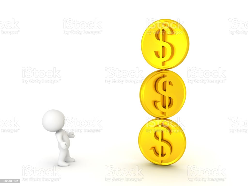 3D Character looking up at stack of three golden dollar coins stock photo