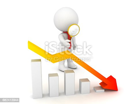 3D Character looking with a magnifying glass at a financial graph which shows decline. Image can be used in any financial situation.