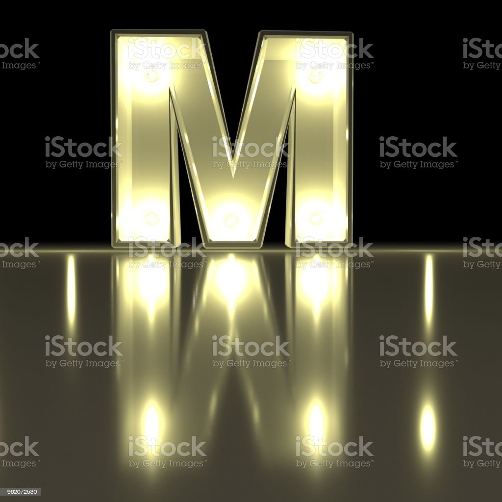 Character M font with reflection. Light bulb glowing letter alphabet. Capital symbol on black background. 3d rendering stock photo