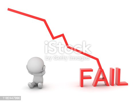 3D Character next to chart graph showing failure. 3D Rendering isolated on white.