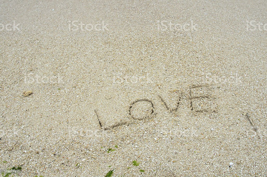 Character of sandy beach. (Love) royalty-free stock photo