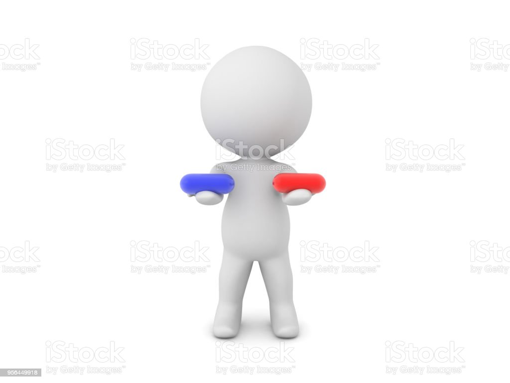 3D Character offering blue and red pill choice stock photo