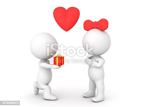 3D Character offering gift or ring to female character. Image can be used in a  engagement or proposal scenario.