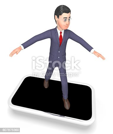 Smartphone Online Showing World Wide Web And Business Person 3d Rendering