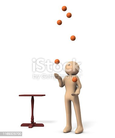 istock A character performing juggling. White background. 3D illustration. 1169325700