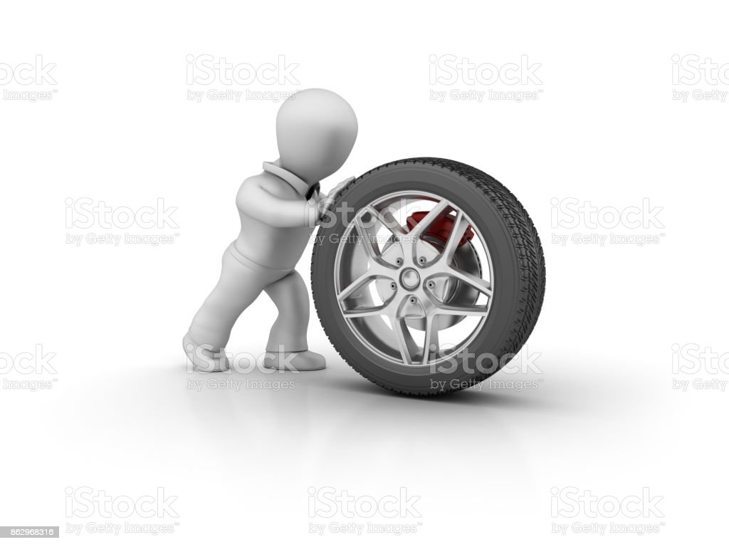 Character Pushing a Car Tire - 3D Rendering stock photo