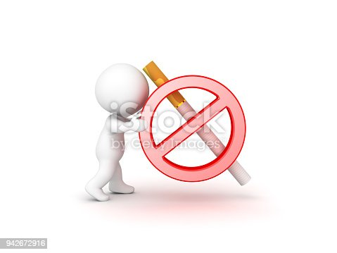 3d Character Pushing No Smoking Symbol Stock Photo More Pictures