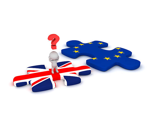 3D Character Questioning Puzzle Piece with British Flag and Euro 3D character with a question symbol standing on a British flag puzzle piece, next to a EU puzzle piece. Isolated on white background. detach stock pictures, royalty-free photos & images