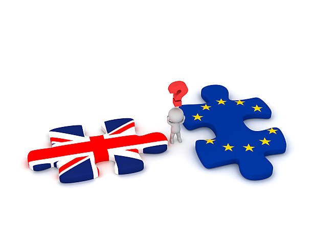 3D Character Questioning Puzzle Pieces with British Flag and Eur 3D character with a question symbol and two puzzle pieces with the British Flag Union Jack and the EU European Union Flag. Isolated on white background. detach stock pictures, royalty-free photos & images