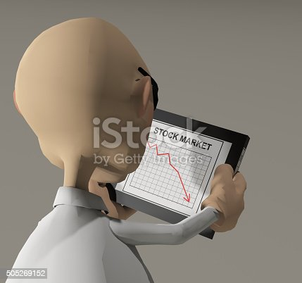 a rendered illustration of a cartoon character reading his stock market report on his computer tablet