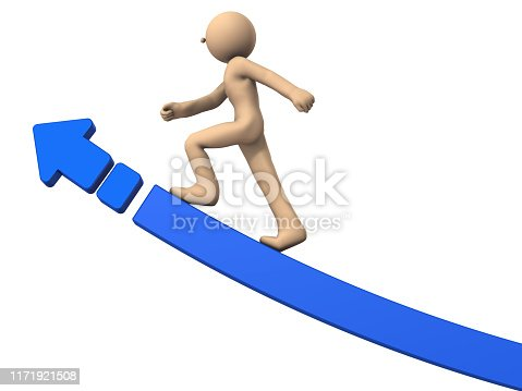A character riding a big rising arrow. He represents growth. White background. 3D illustration.