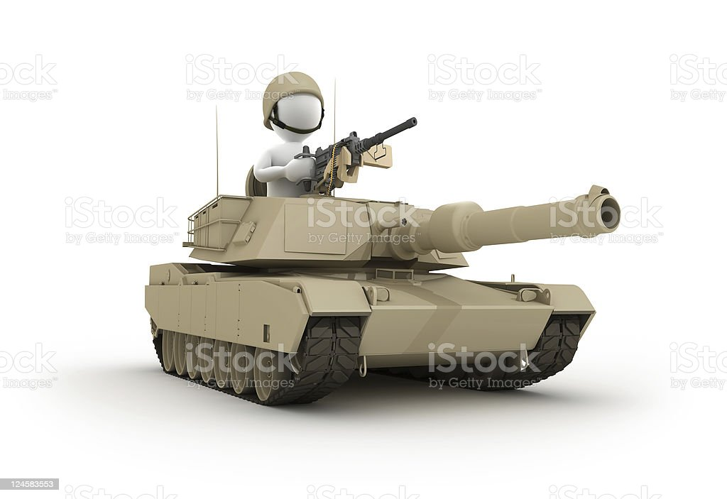 Character riding Tank royalty-free stock photo