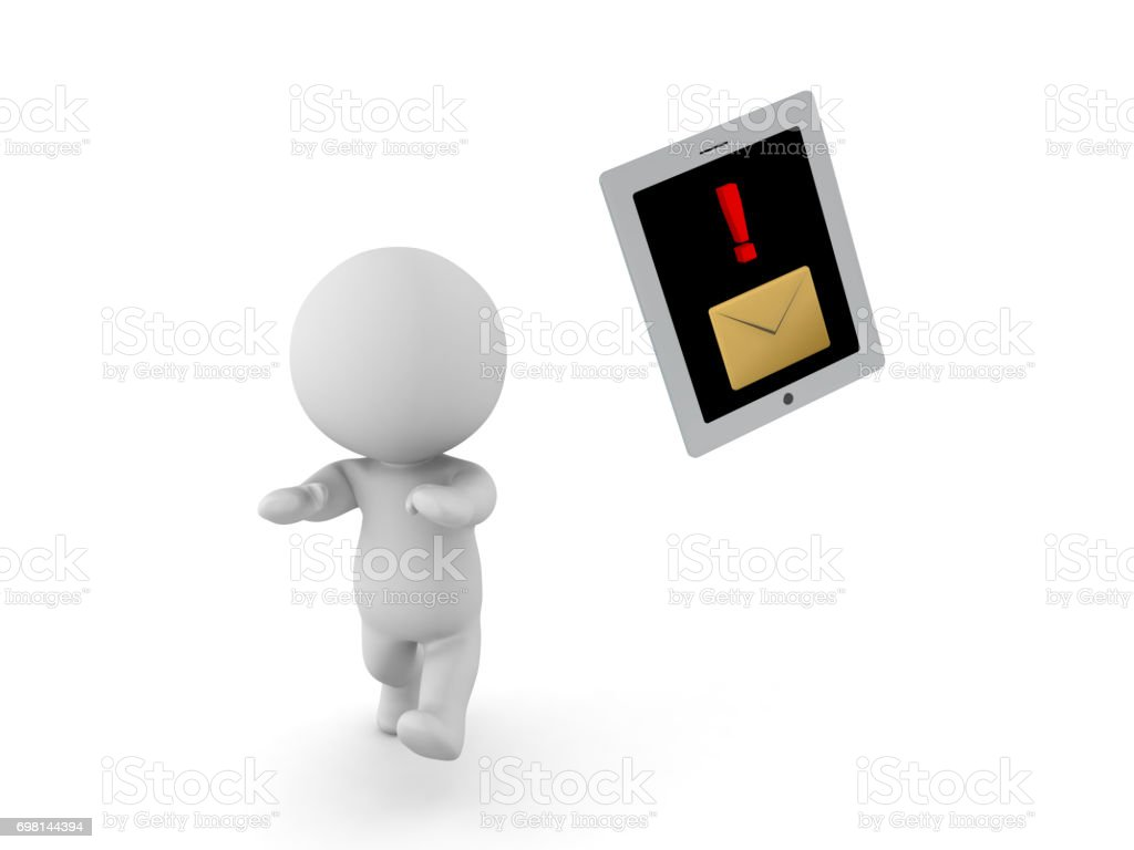 3D Character running away from table phone device with message notification stock photo