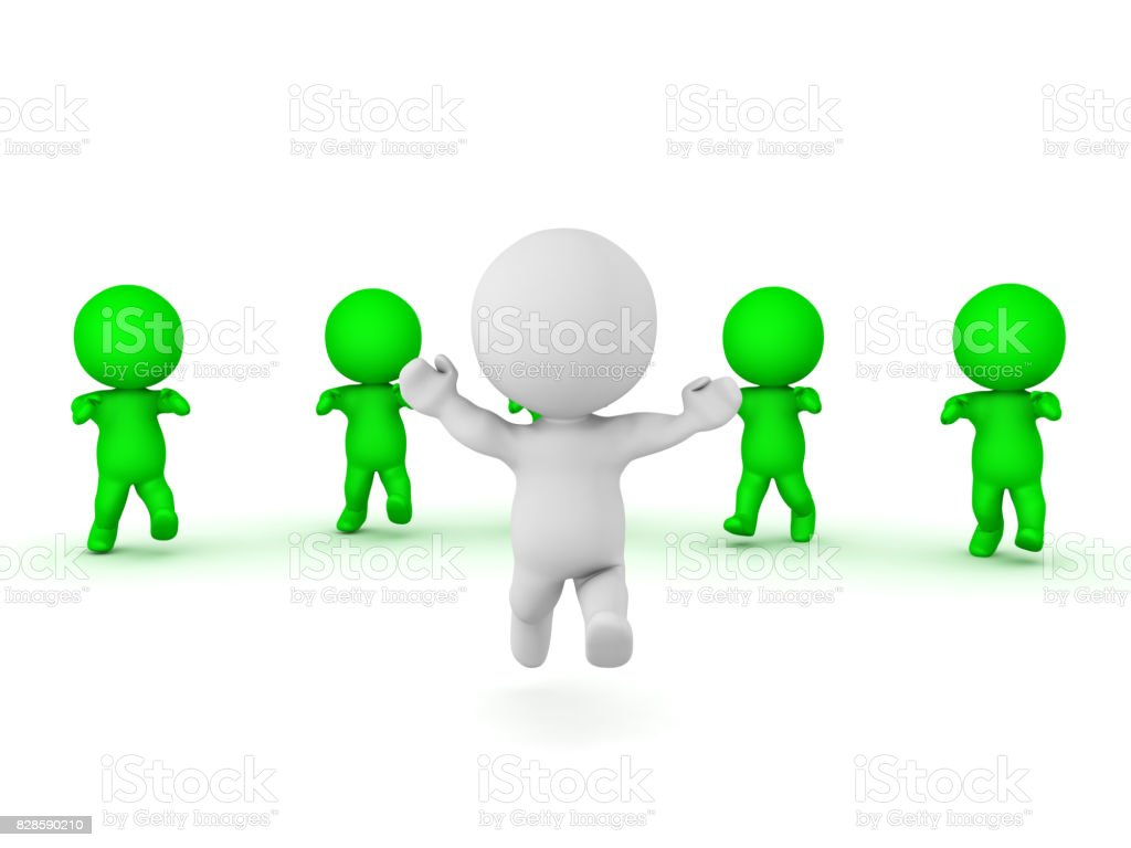 3D Character running away from zombies stock photo