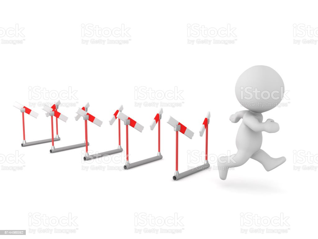 3D Character Running Through Many Barriers stock photo