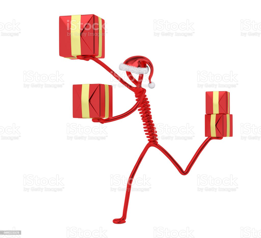 Character Running To Delivery Christmas Gifts 3d Rendering Stock ...
