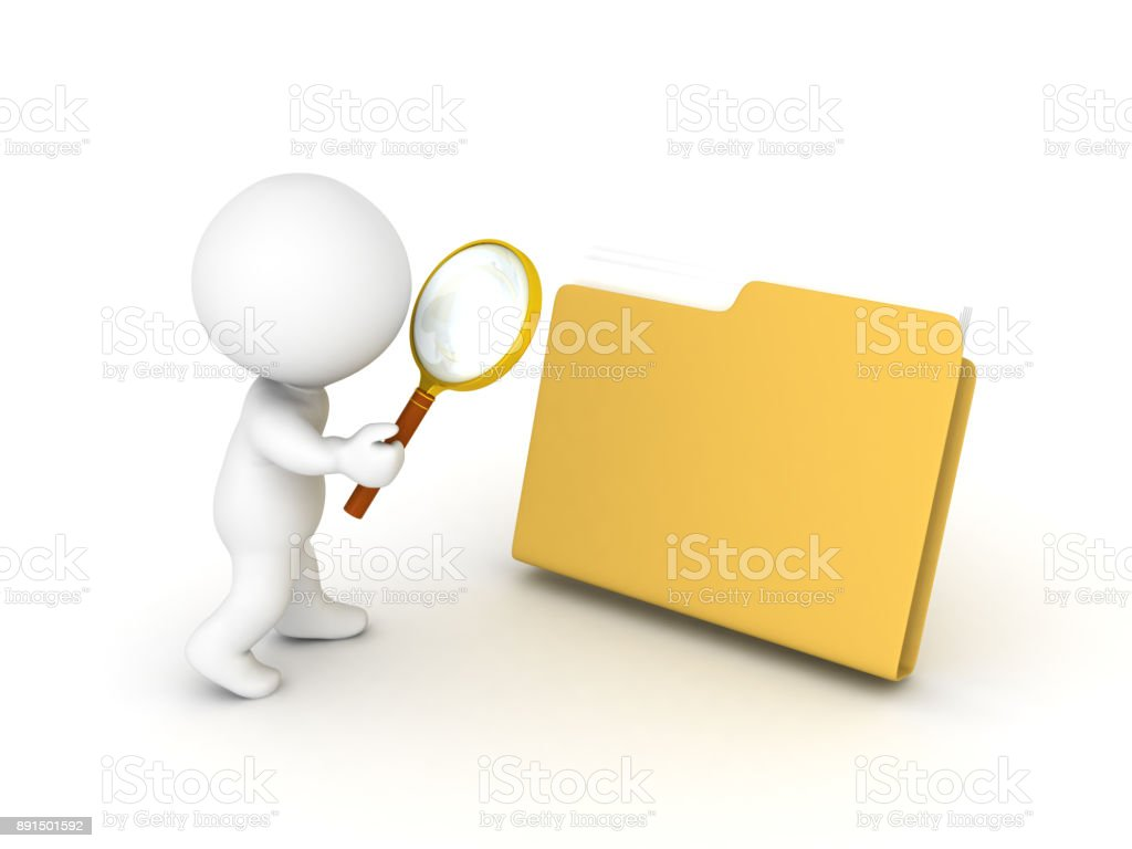 3D Character searching folder stock photo