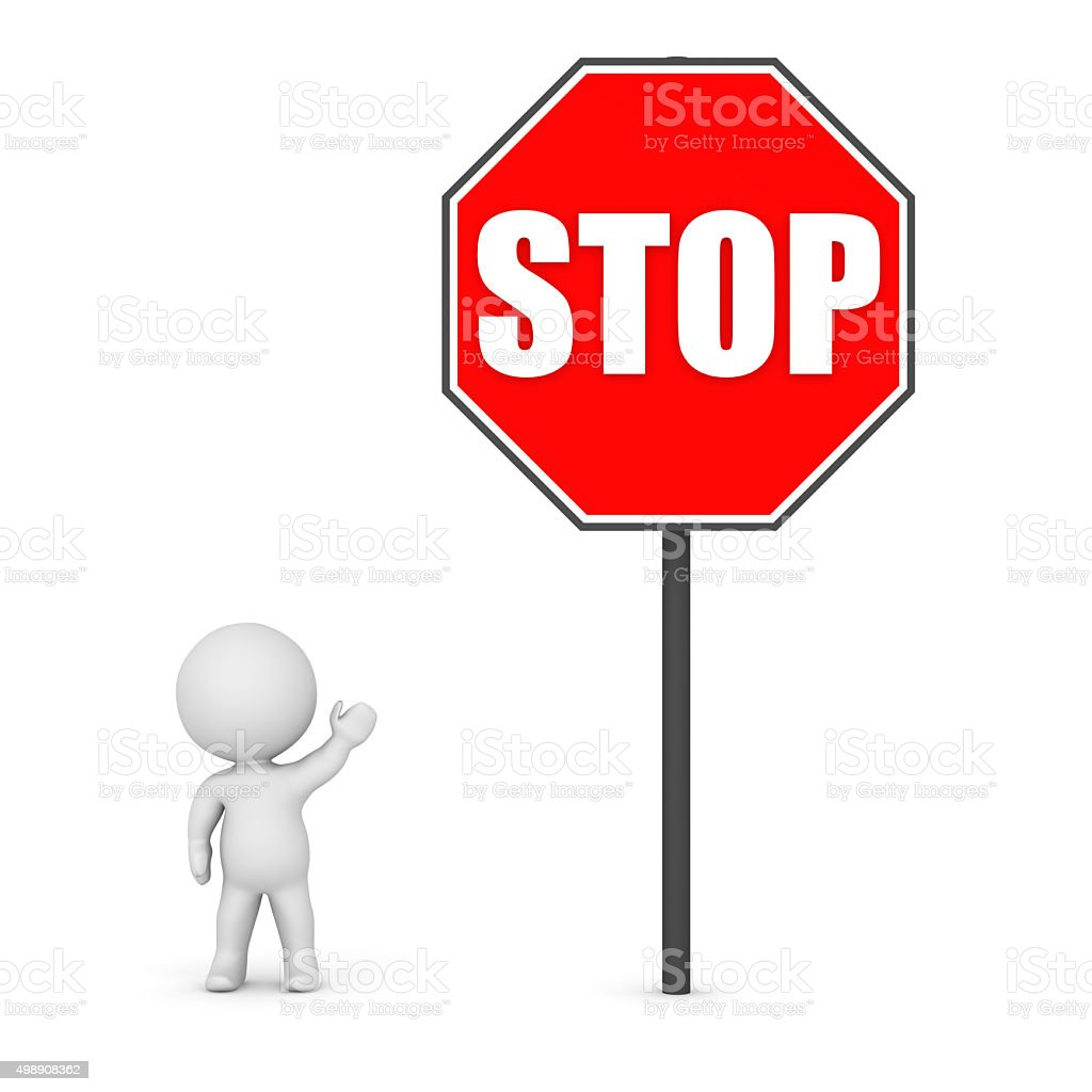 3D Character Showing a Large Stop Sign stock photo