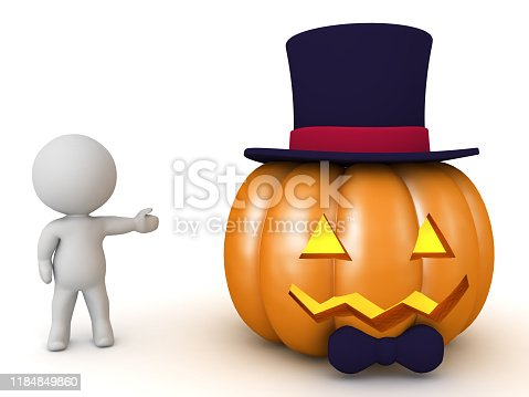 3D Character showing distinguished halloween pumpkin. 3D Rendering isolated on white.