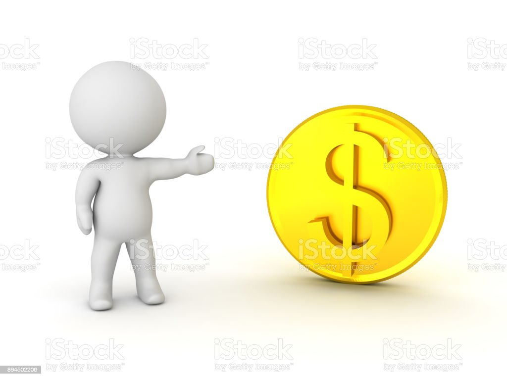 3D Character showing golden dollar coin stock photo